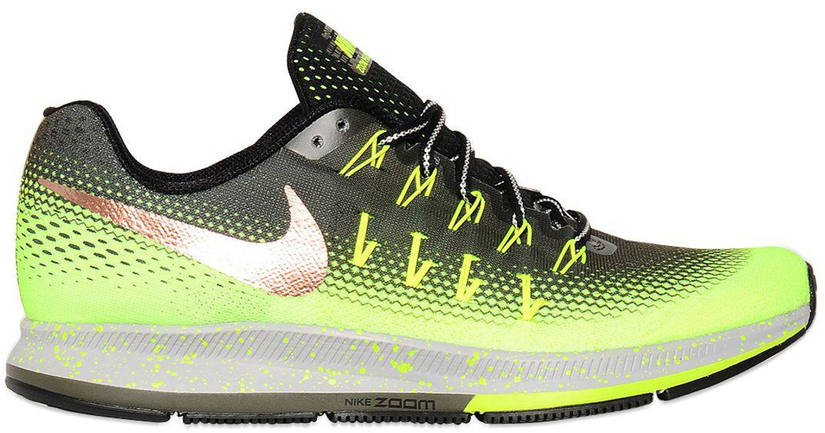 finest selection b7a33 5763c Nike Green Air Zoom Pegasus 33 Shield Running Shoes for men