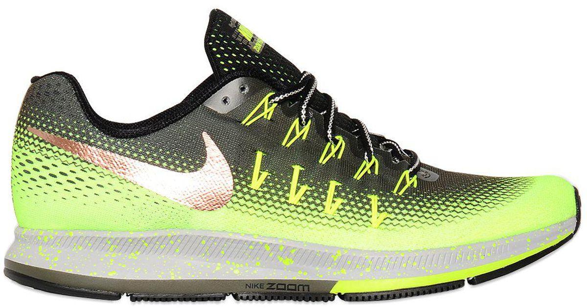 Nike Green Air Zoom Pegasus 33 Shield Running Shoes for men