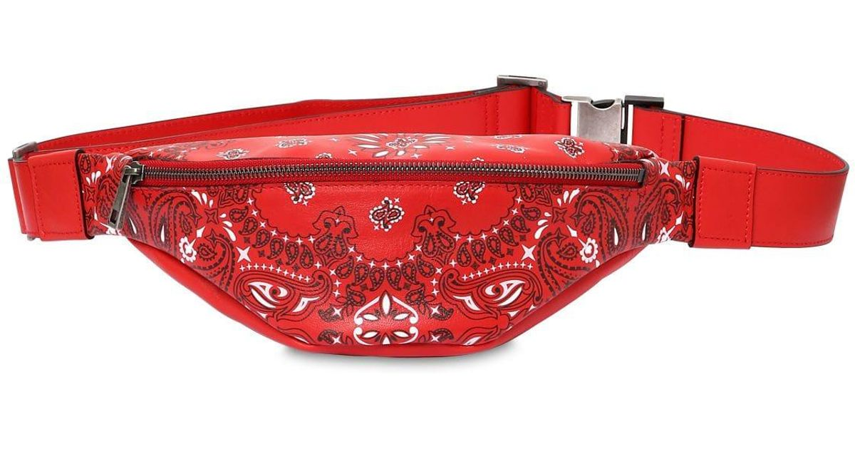 13c241f258 Htc Los Angeles Red Bandana Print Leather Belt Bag for men