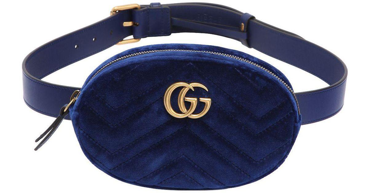 de5e359818e5 Lyst Gucci Small Gg Marmont Velvet Belt Pack In Blue
