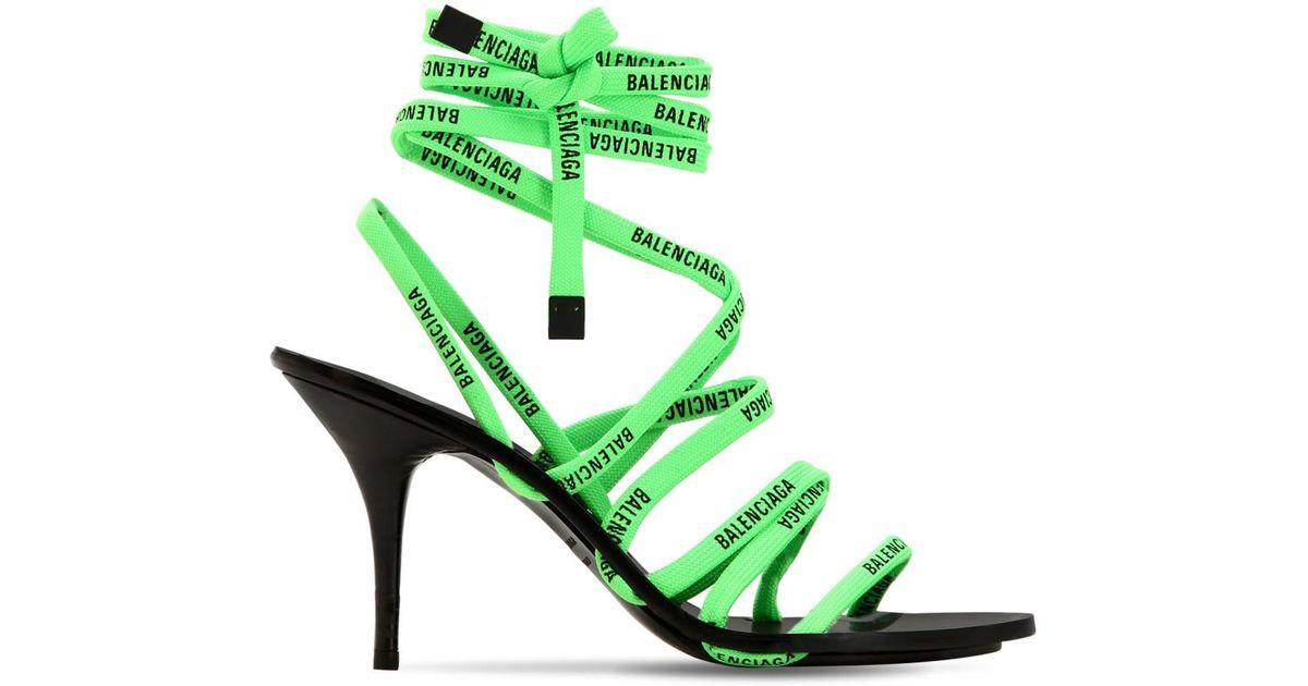 Wrap Around Flat Sandals in Neon Green