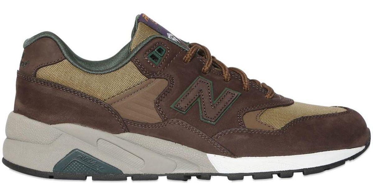 san francisco 67531 28991 New Balance Brown 580 Revlite Nubuck & Canvas Sneakers for men