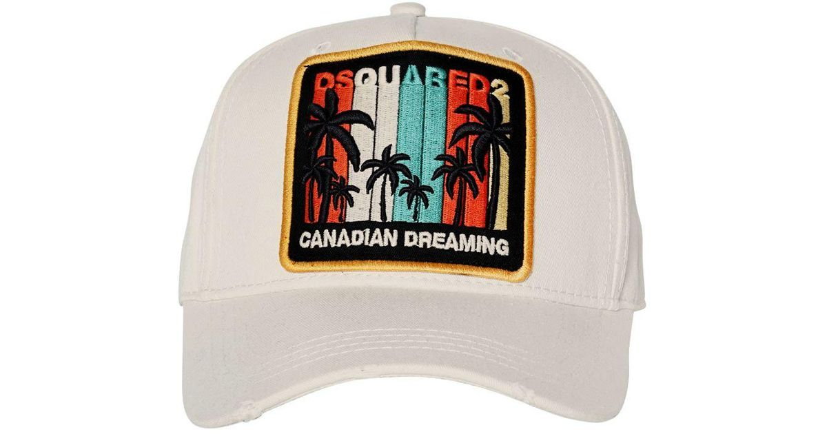 1377f29961c DSquared² Canadian Dreaming Patch Canvas Hat in Natural for Men - Lyst