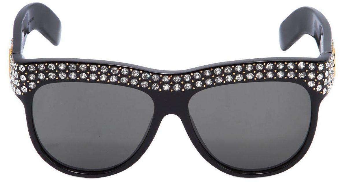 Lyst - Gucci D-frame Crystals Embellished Sunglasses in Black