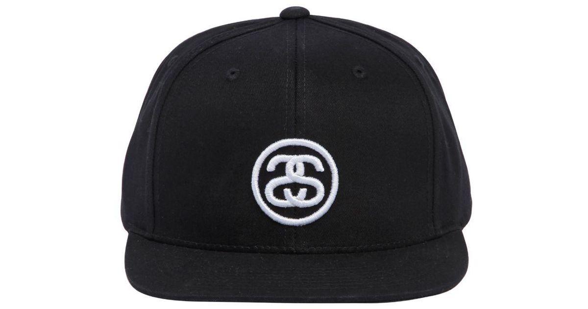 Stussy Ss Link Logo Sp18 Cotton Baseball Hat in Black for Men - Lyst 0c527b2f589