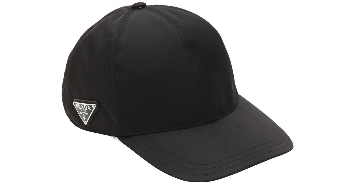 Lyst - Prada Triangle Logo Nylon Baseball Cap in Black ef3ac48a0ca