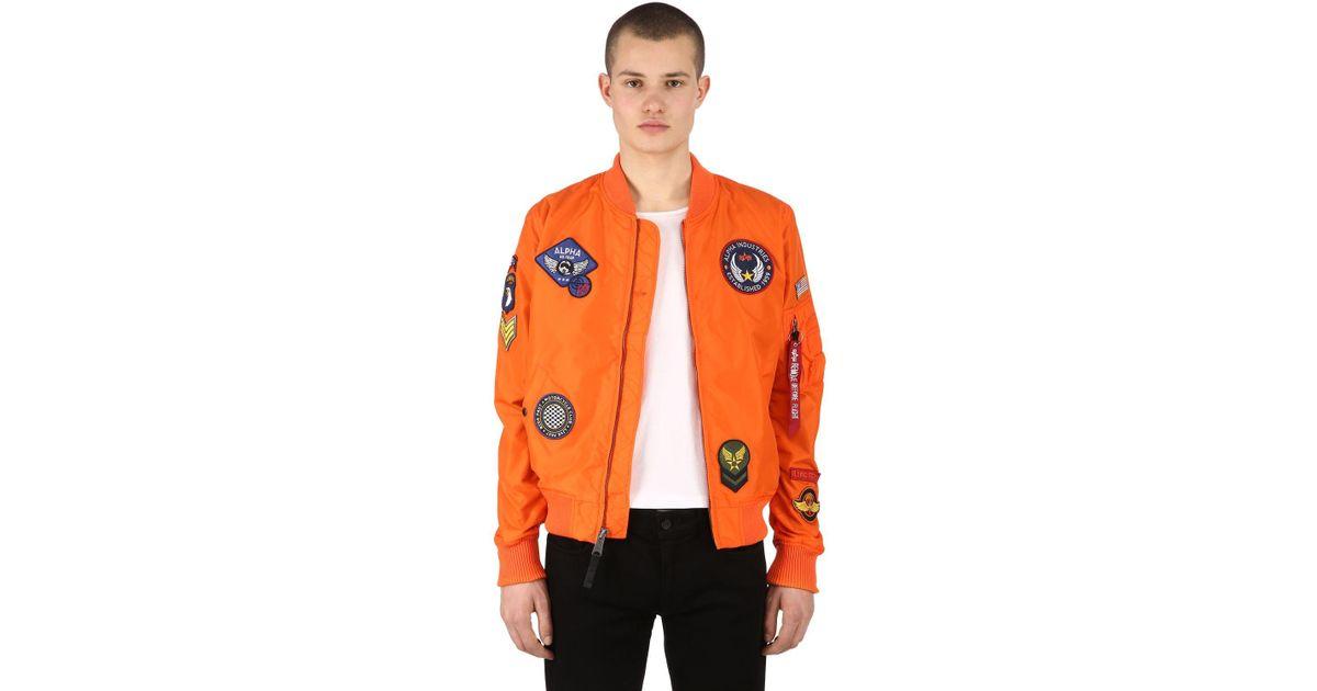 7768895ca Alpha Industries Orange Ma-1 Tt Patches Nylon Bomber Jacket for men