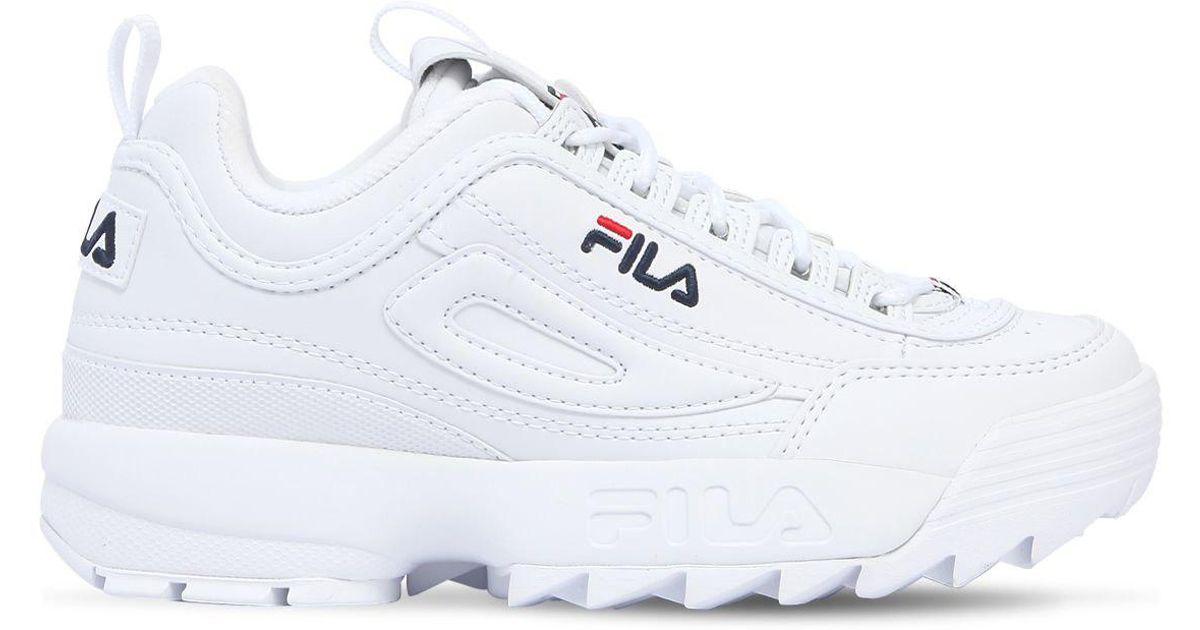 Fila White Disruptor Faux Leather Platform Sneakers
