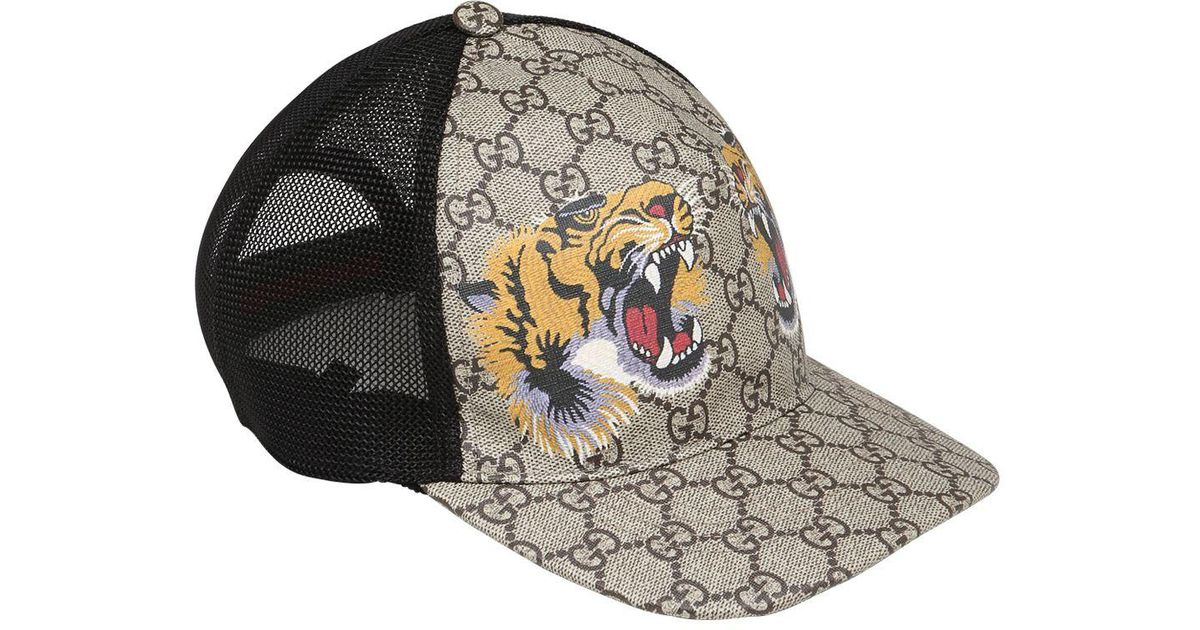 Lyst - Gucci Tiger Mesh Cap in Black for Men fc3e1131814