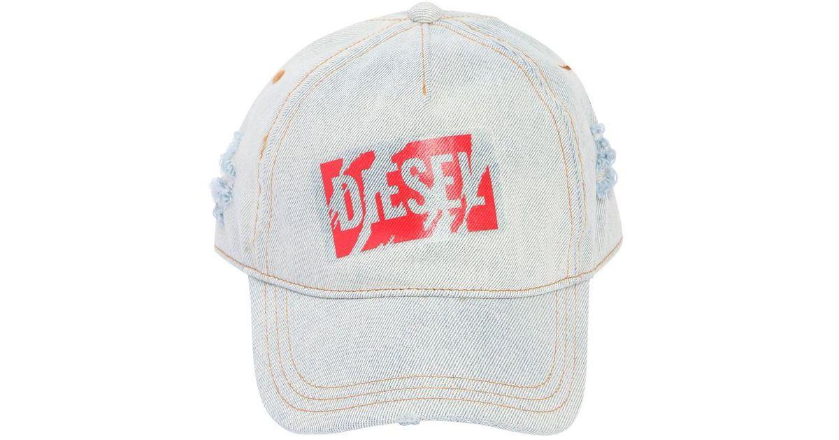 Lyst - DIESEL Logo Tape Ripped Denim Baseball Hat in Blue for Men 4875718bd78