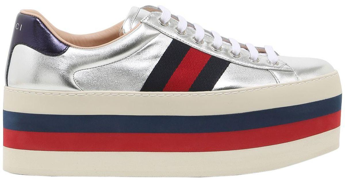 832e2f88e31 Lyst - Gucci 80mm New Ace Leather Platform Sneakers in Metallic