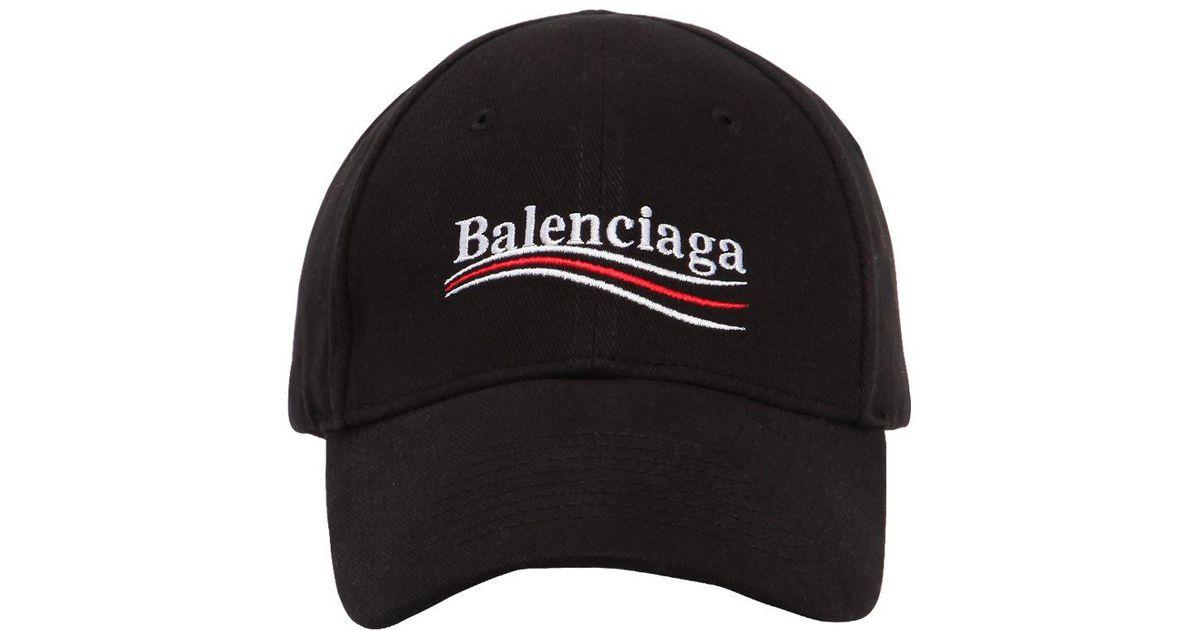 0c0302a47b2 Lyst - Balenciaga New Political Logo Cotton Hat in Black for Men