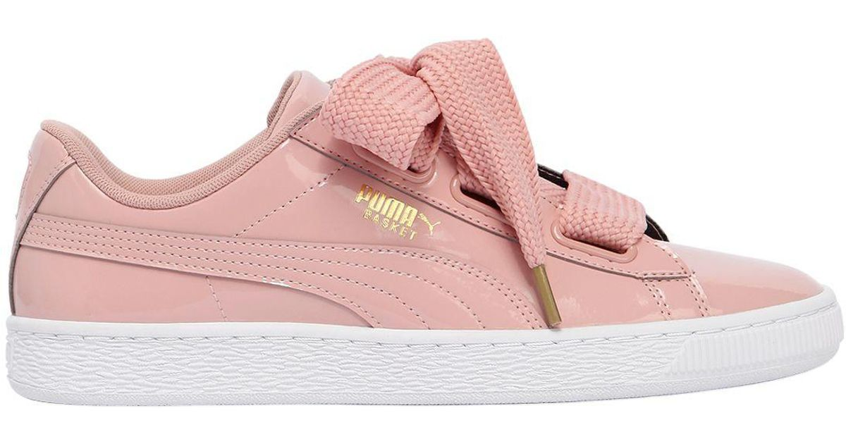 new style a2fe3 eeccc Puma Select Basket Heart Patent Leather Sneakers in Pink - Lyst