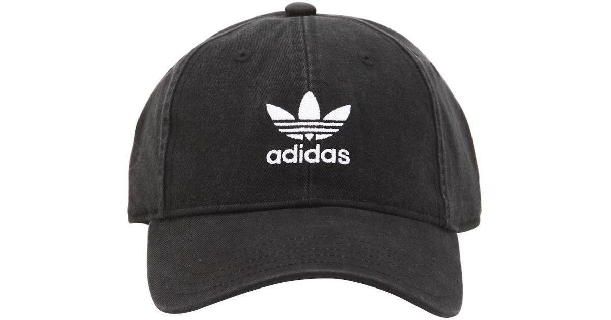 super popular 3ea73 d8c7c Lyst - adidas Originals Adicolor Washed Cotton Baseball Hat in Black