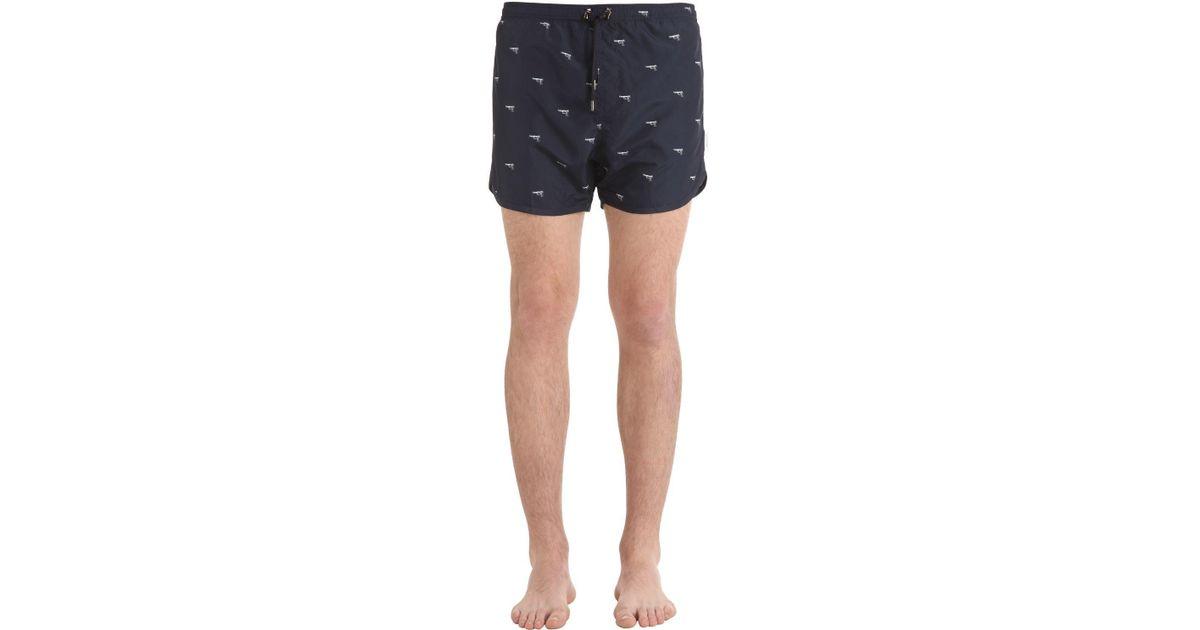 c871aa0c5df1d Neil Barrett Guns Printed Nylon Swim Shorts in Blue for Men - Lyst