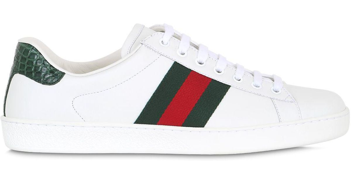 lyst gucci new ace web leather amp camain sneakers in
