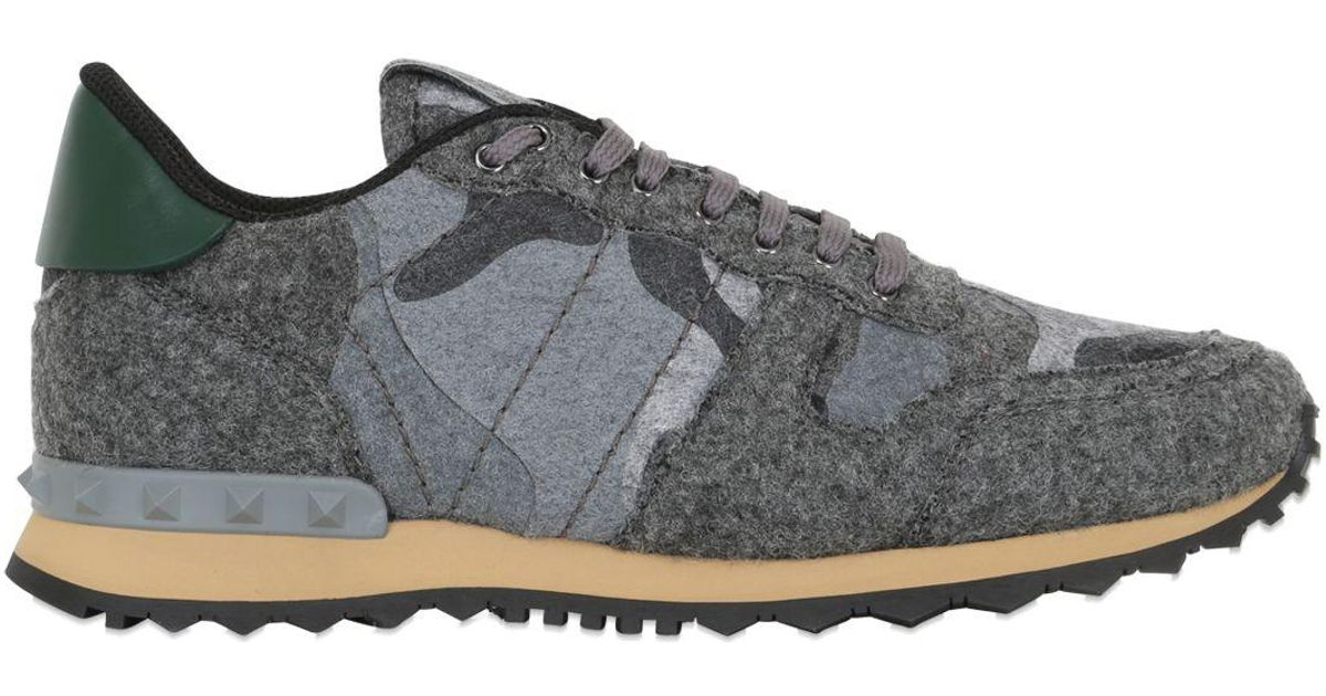 Valentino Rockrunner Camo-print Felt Sneaker In Grey (Gray