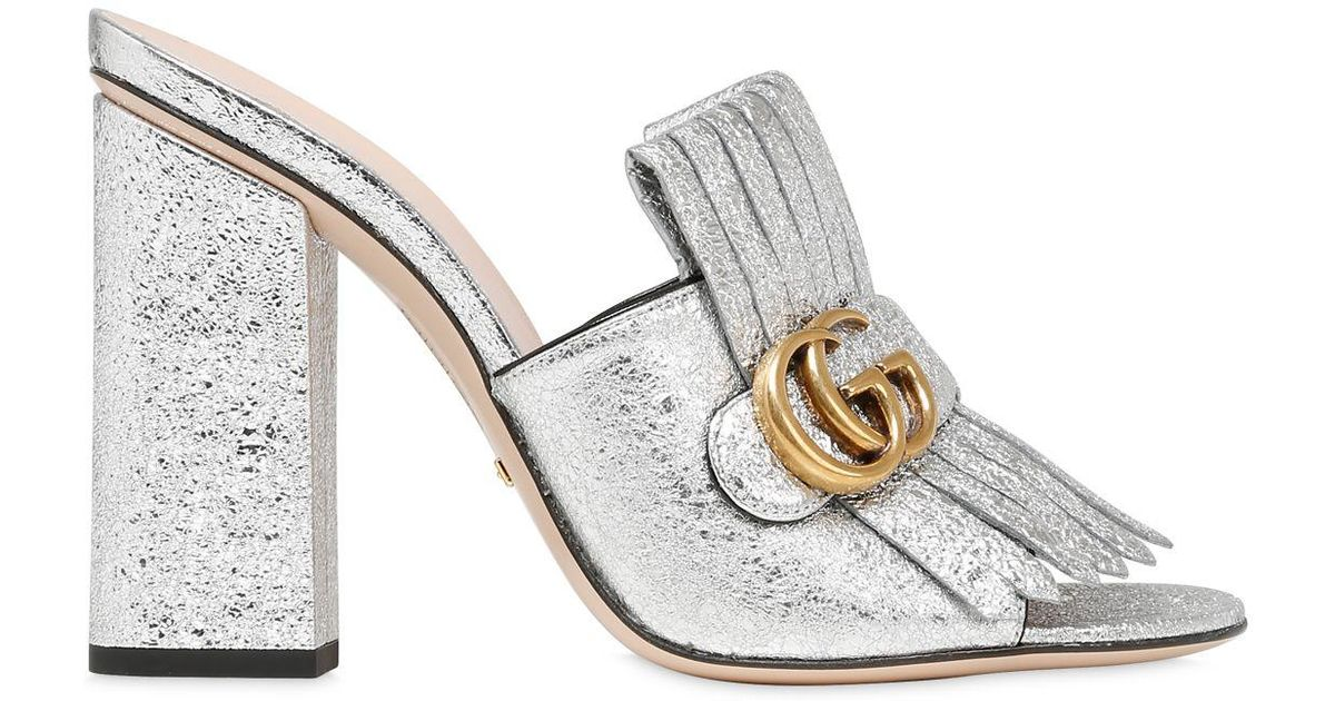 a1d12d9fef5 Lyst - Gucci 105mm Marmont Gg Crackled Leather Mules in Metallic