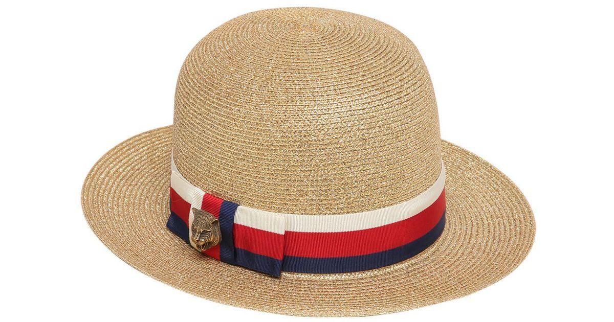 Lyst - Gucci Woven Straw Lurex Hat in Metallic a4896fb9a951