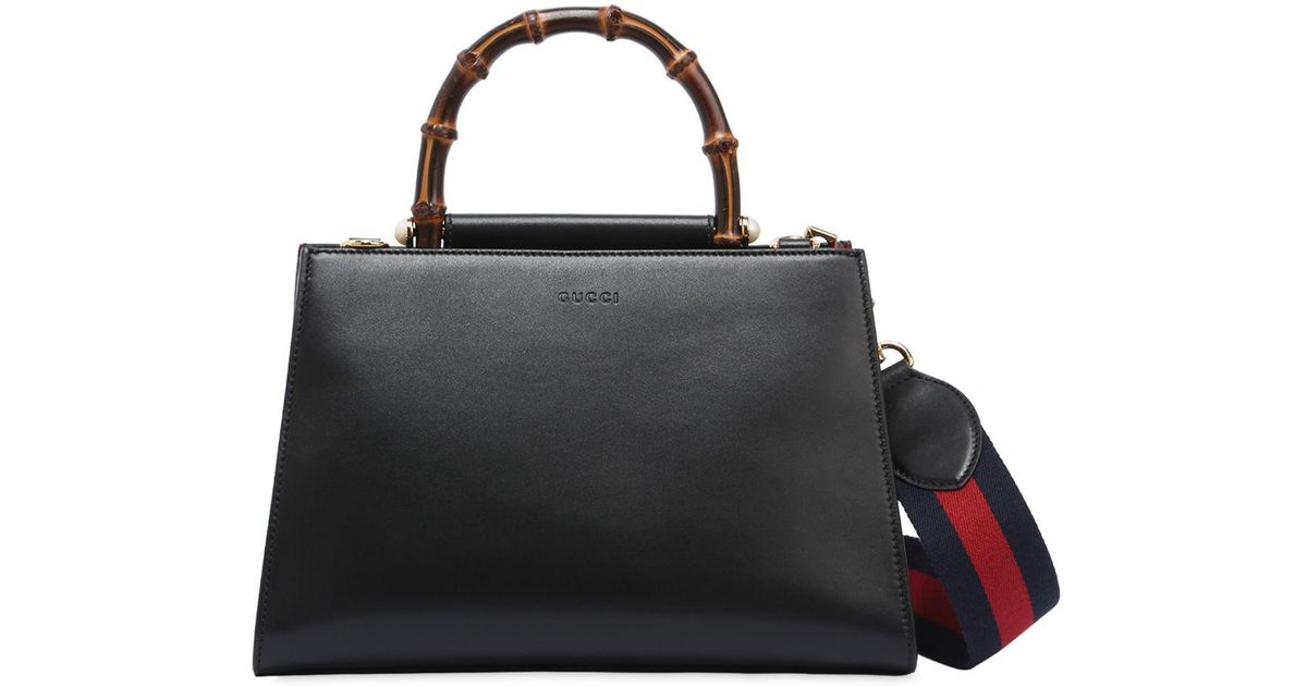 01c8af805c6 Lyst - Gucci Small Nymphaea Leather Top Handle Bag in Black