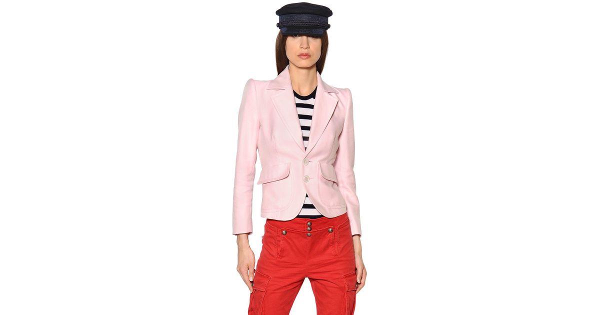 d4cd7895fa DSquared² - Pink Veste En Soie De Coton - Lyst