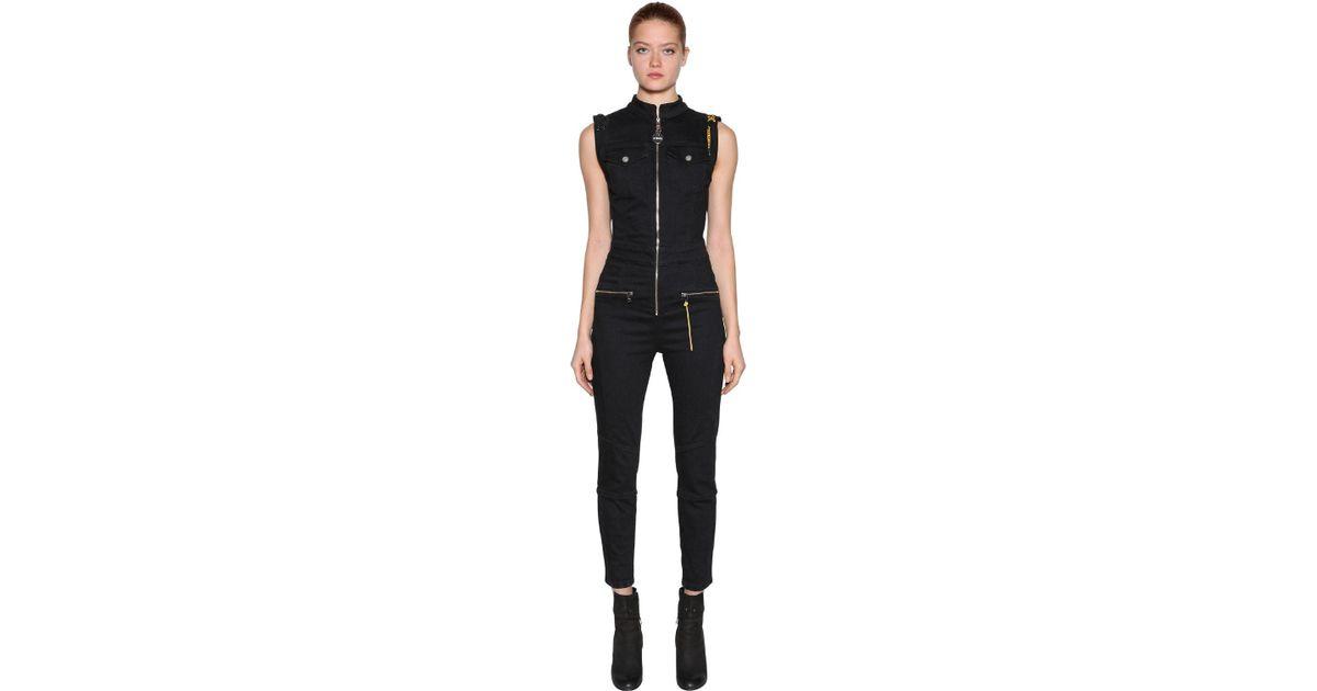 9e47e82c216 Lyst - DIESEL Slim Fit Zipped Cotton Denim Jumpsuit in Black