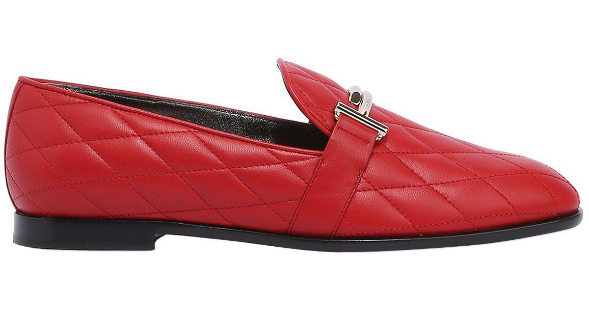 pick up detailed pictures timeless design Tod's 10mm Double T Quilted Leather Loafers in Red - Lyst
