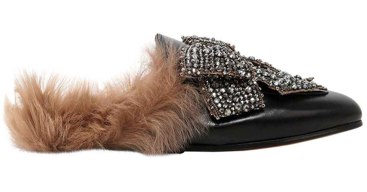 8b63be1f23c8 Lyst - Gucci Princetown Shearling-lined Embellished Leather Slippers in  Black - Save 53%