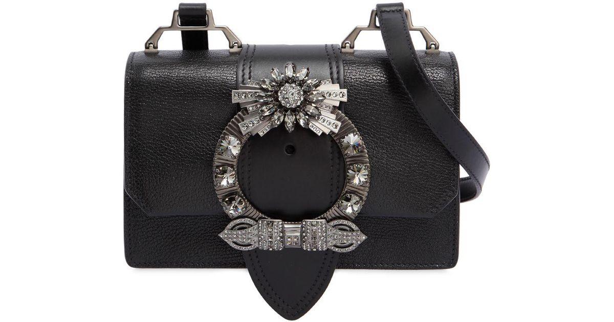 47335bfa74b5 Lyst - Miu Miu Miu Lady Shoulder Bag W  Crystal Buckle in Black