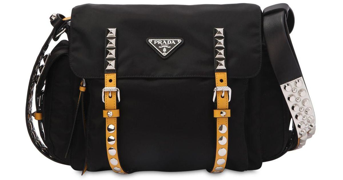 86cdbd81ee32 ... coupon for lyst prada studded nylon messenger bag in black 6bb76 6c0b3