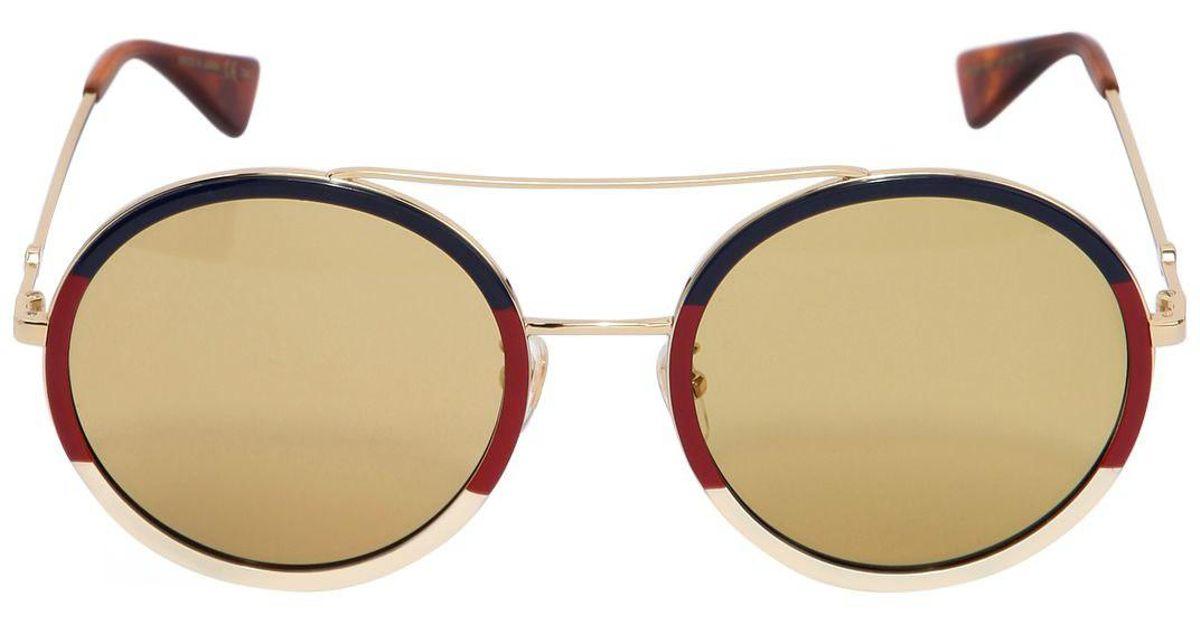 de11dd2db Gafas de sol redondas con montura de metal Gucci de color Amarillo - Lyst