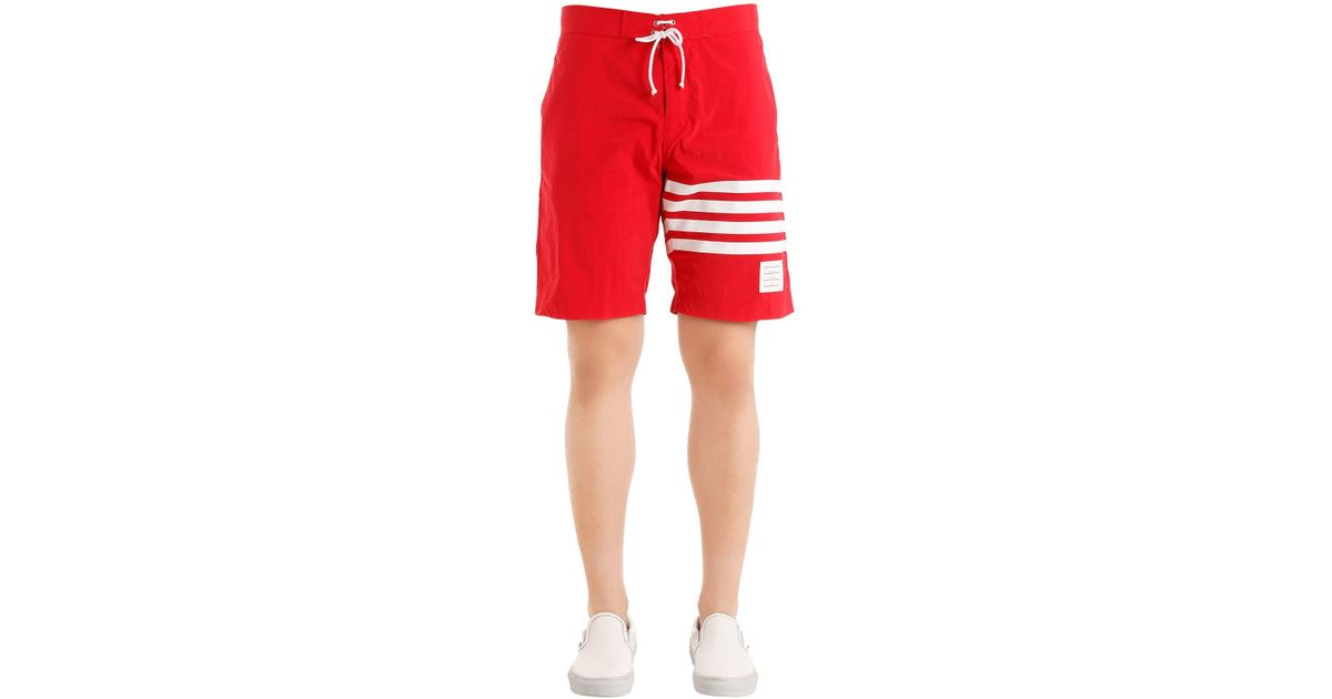 13391381c7084 Thom Browne Printed Stripes Nylon Swim Shorts in Red for Men - Lyst