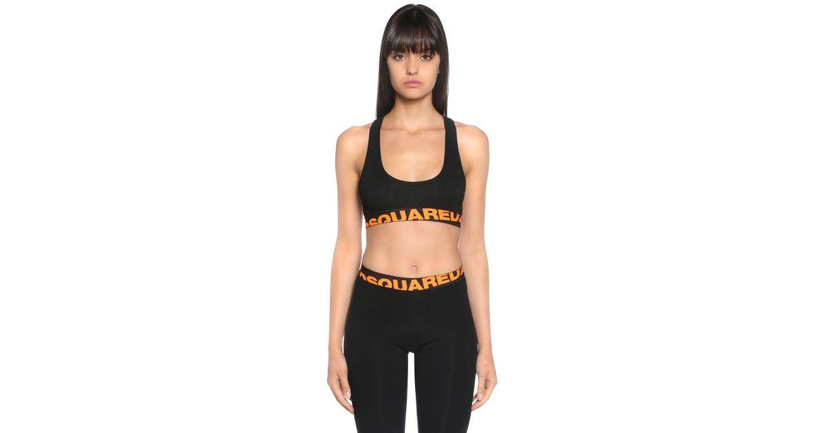 094d317825 DSquared² Logo Print Jersey Sports Bra Top in Black - Lyst