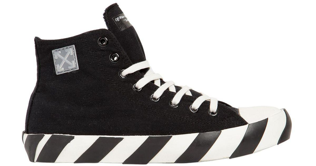 Lyst - Off-White c o Virgil Abloh Striped Cotton Canvas High Top Sneakers  in Black for Men daf0c4476a5c