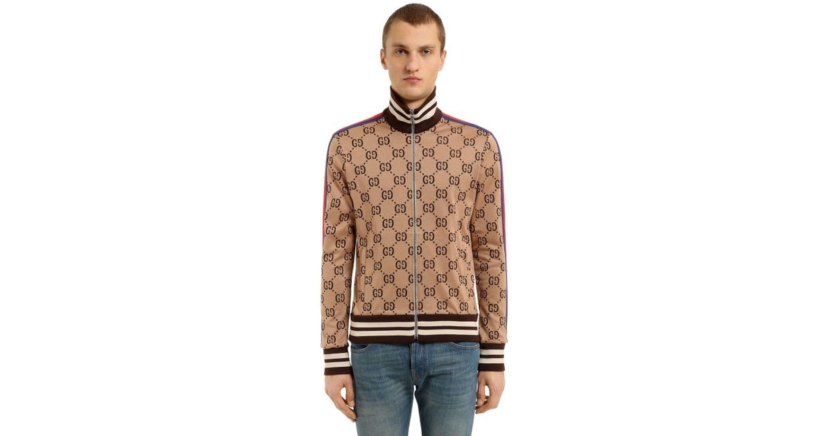 3085526bb Lyst - Gucci Gg Zipped Jacquard Track Jacket in Brown for Men