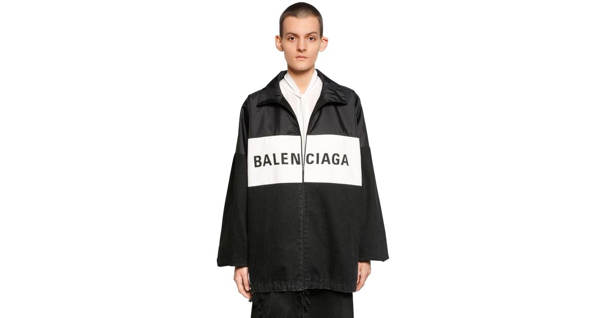 0ee3927c90d1 Balenciaga Logo Patchwork Nylon & Denim Jacket in Black - Lyst