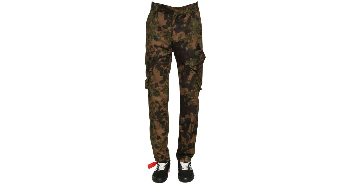 734bd6669425 Lyst - Off-White C O Virgil Abloh Camo Printed Cotton Cargo Pants in Green  for Men