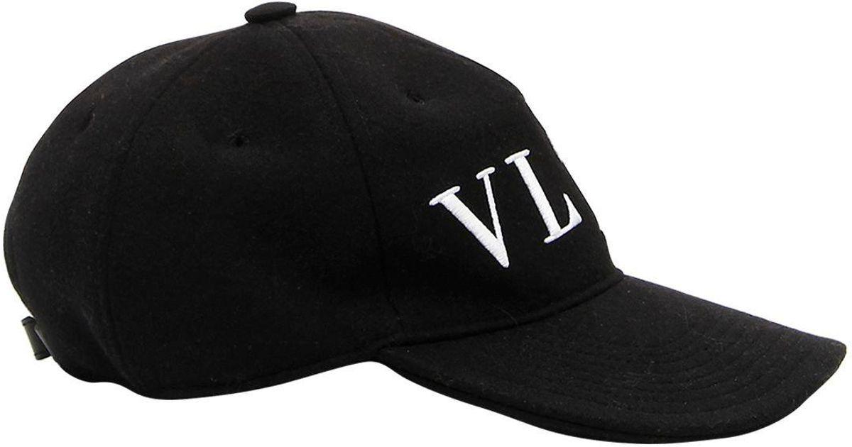 f31efb3edb7 Lyst - Valentino Vltn Wool Baseball Hat in Black for Men