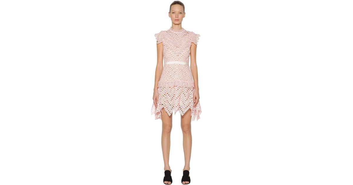 b46867d8fe0c Self-Portrait Abstract Triangle Lace Mini Dress in Pink - Lyst