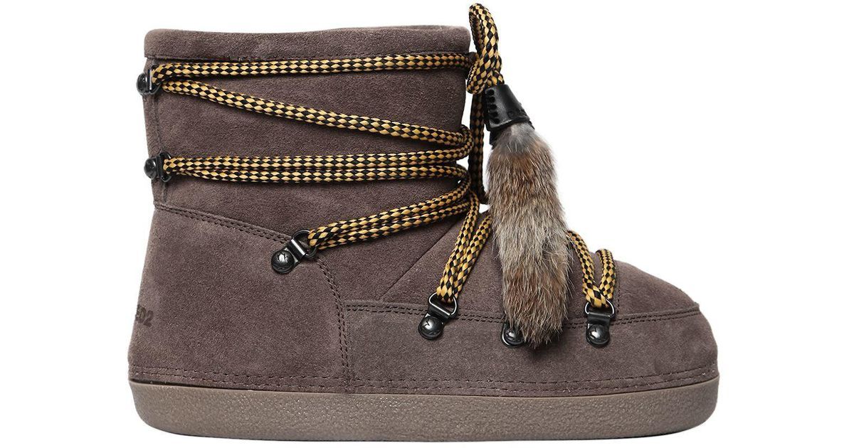 Boots Brown Ankle W In Fur Dsquared² Suede Lyst Tassels Snow tzTIwq