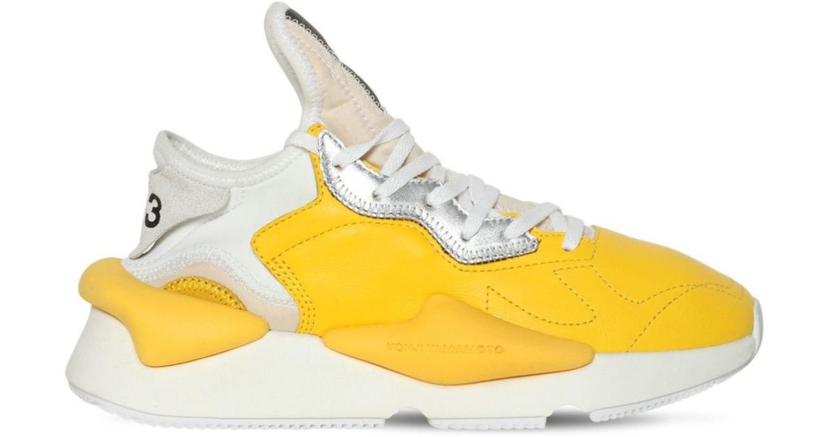 67ab8254e81a2 Lyst - Y-3 Men s Kaiwa Leather Running Sneakers in Yellow for Men