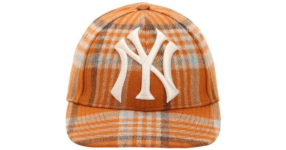 Lyst - Gucci Ny Wool Check Baseball Hat in Orange for Men acbe41dc284