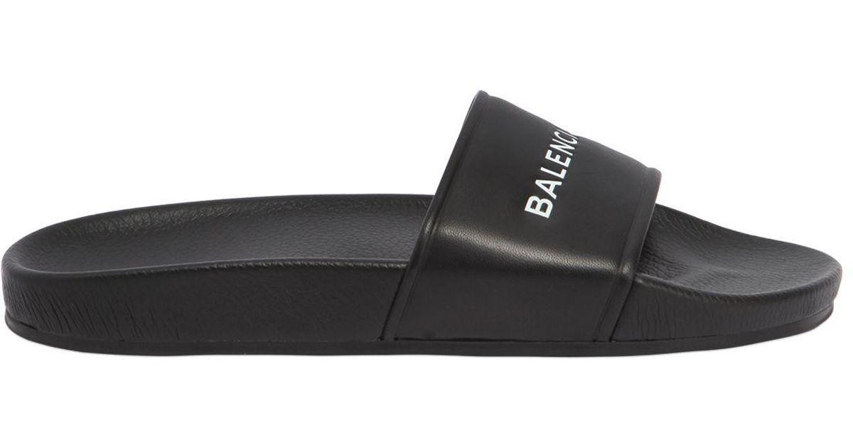 fd6c9f613206 Balenciaga Logo Printed Rubber Slide Sandals in Black for Men - Save 32% -  Lyst