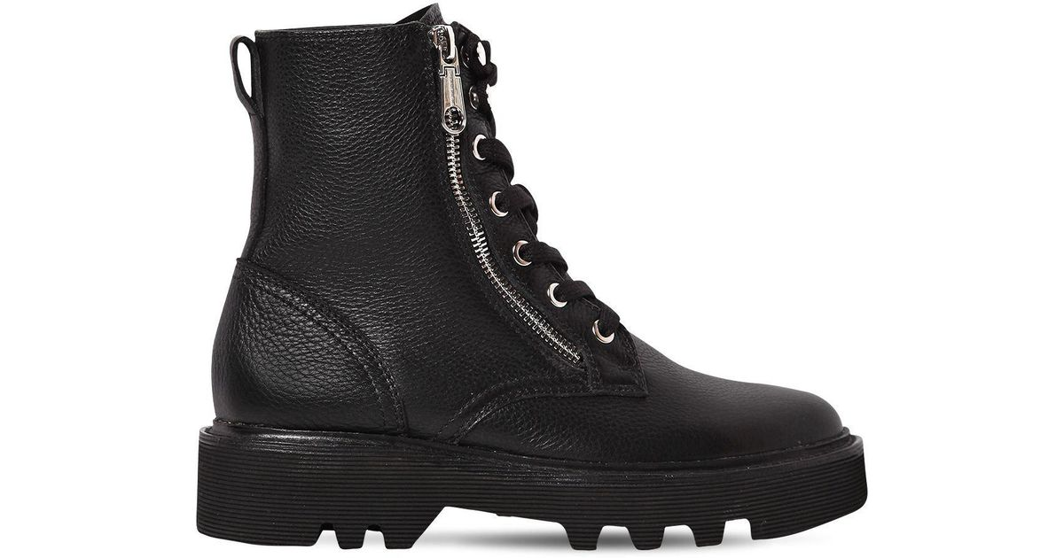 Calvin Klein Black 30Mm Diahne Tumbled Leather Combat Boots Calvin Klein Military Boots Shoes
