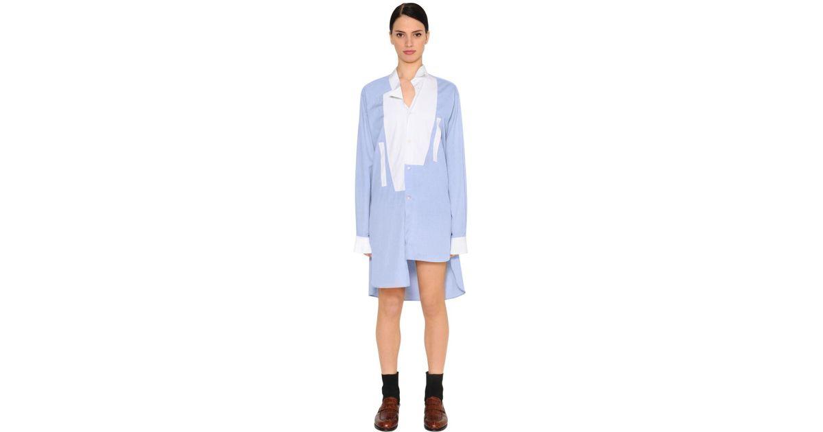 Robe Coton Asymétrique Lyst En Loewe Coloris Chemise Bleu b7ygIYvf6