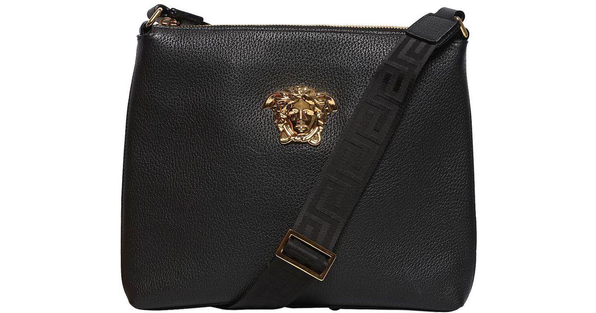 161de201346c Lyst - Versace Medusa Tumbled Leather Messenger Bag in Black