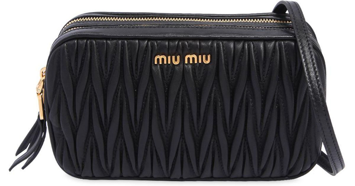 Miu Miu - Black Double Zip Quilted Leather Camera Bag - Lyst 668ccec2290f6