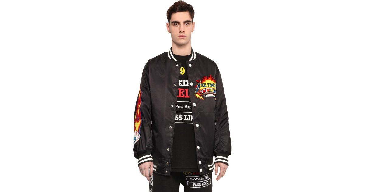 ab0b0f13b KTZ Black Pinball Patched Canvas Bomber Jacket for men