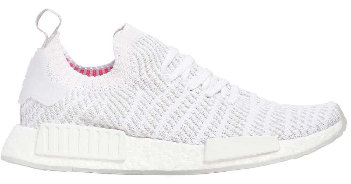 new styles 34369 9c302 Adidas Originals White Nmd R1 Stlt Primeknit Sneakers