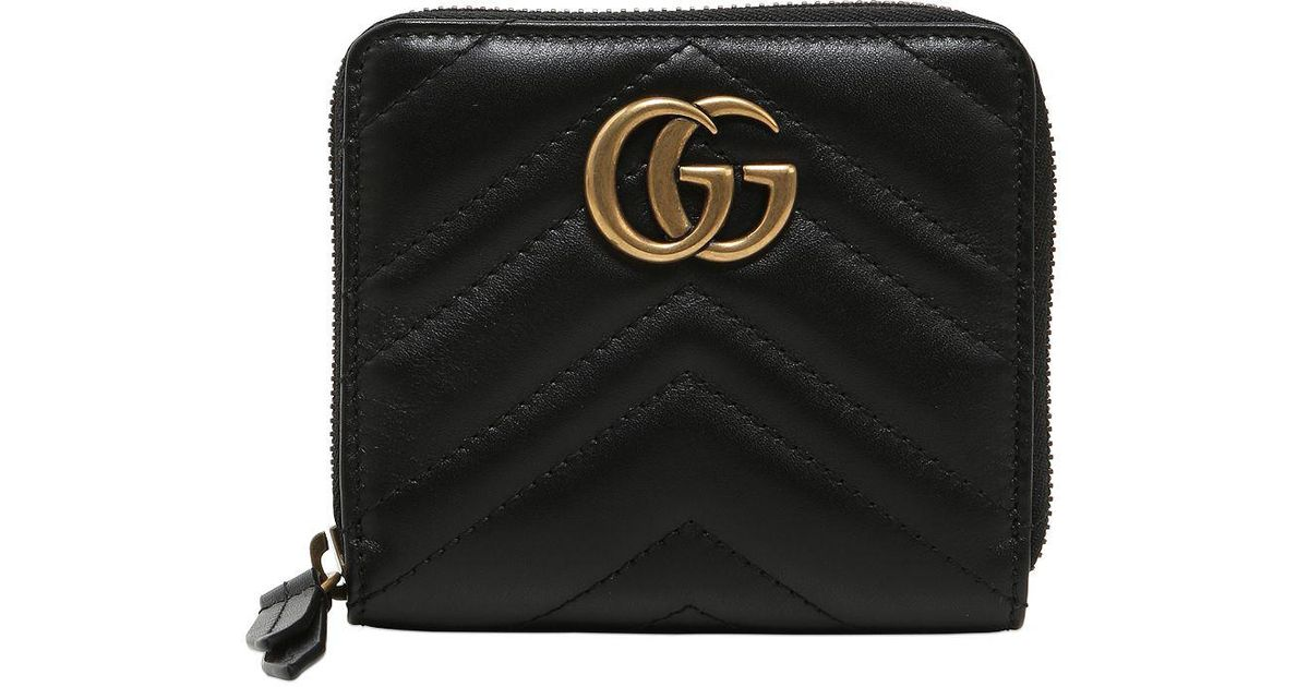 2a46bc3c1ae7b Gucci Black Small Gg Marmont 2.0 Leather Zip Wallet